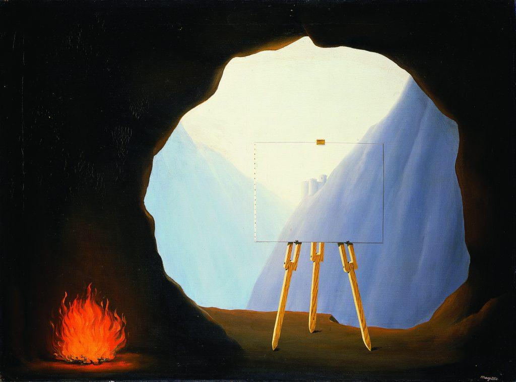 """Magritte est fasciné par le thème de la lumière comme dans """"La condition humaine"""", illustration de l'allégorie du """"Mythe de la Caverne"""" de Platon"""