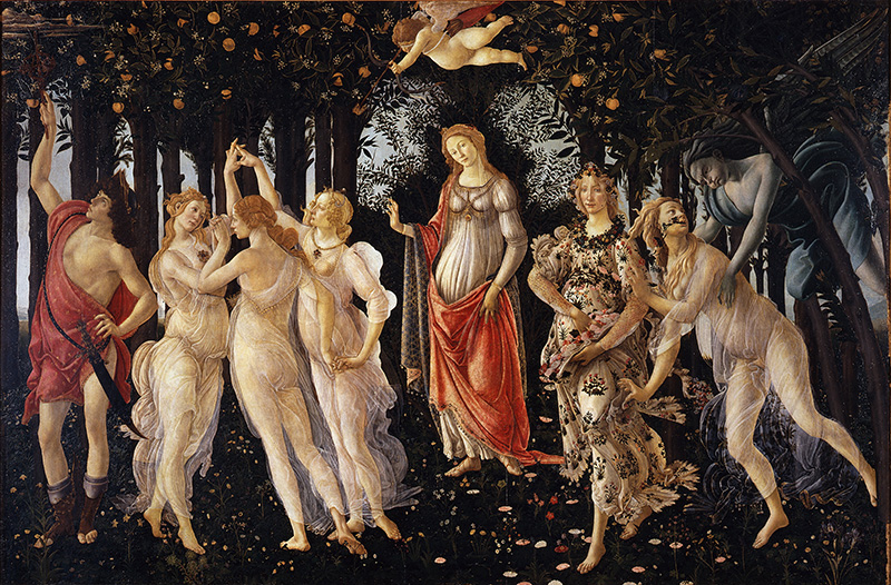 """Le """"Printemps"""" de Sandro Botticelli constitue l'apogée pictural du Néoplatonisme de la Renaissance. Il a inspiré Ovide."""
