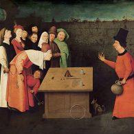 L'escamoteur, célèbre tableau de Jérôme Bosch (1450 -1516), met en scène la magie du premier niveau, s'amuser en trompant nos sens
